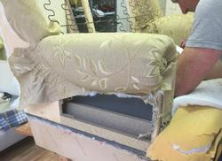 sofa reupholstery process with master tailor in West Yorkshire